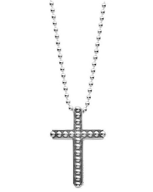 Lagos | Metallic Signature Caviar Cross Pendant Necklace | Lyst