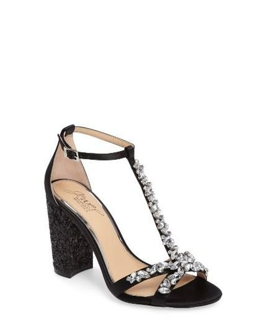 Badgley Mischka | Black Carver Block Heel Sandal | Lyst