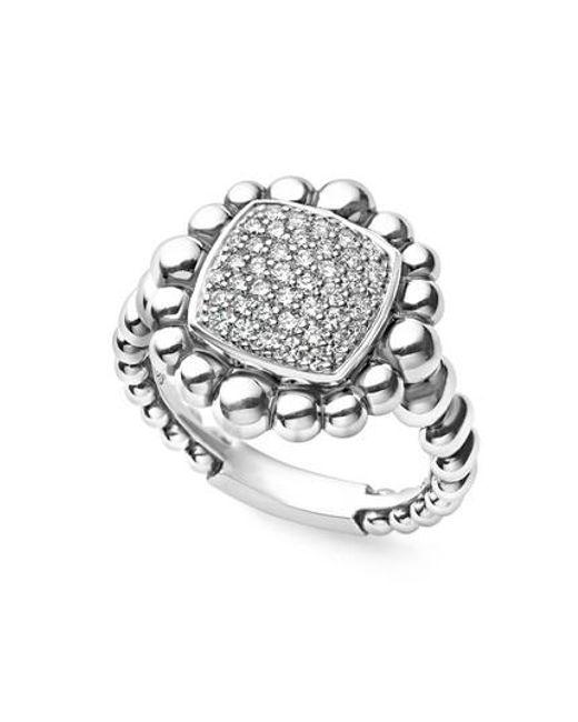 Lagos | Metallic Caviar Spark Square Diamond Ring | Lyst