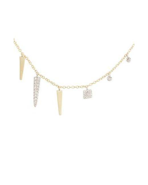 Meira T | Metallic Diamond Spike Dangle Charm Necklace | Lyst