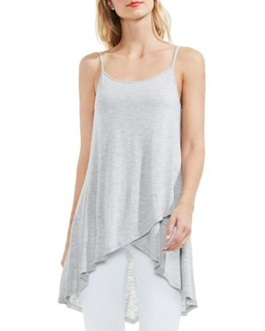 Two By Vince Camuto   Gray Faux Wrap High/low Camisole   Lyst
