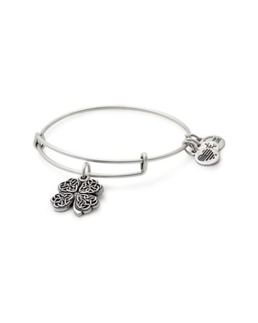 ALEX AND ANI | Metallic Four-leaf Clover Adjustable Wire Bangle | Lyst