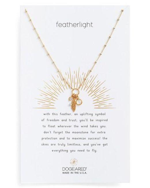 Dogeared | Metallic Featherlight Pendant Necklace | Lyst