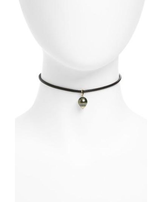 Mizuki | Black Sea Of Beauty Leather & Pearl Choker | Lyst