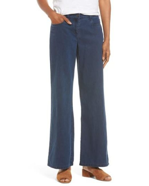 Eileen Fisher | Blue Wide Leg Jeans | Lyst