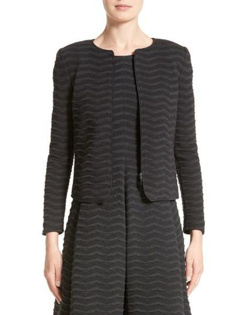 Armani | Gray Embossed Jacquard Jersey Jacket | Lyst