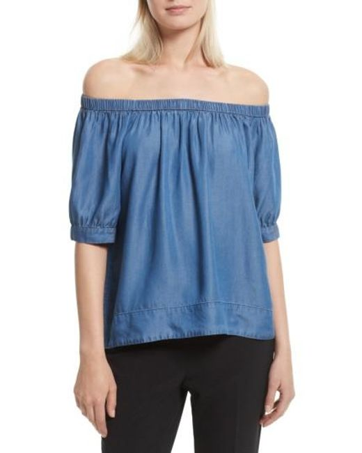 Kate Spade | Blue Off The Shoulder Chambray Top | Lyst