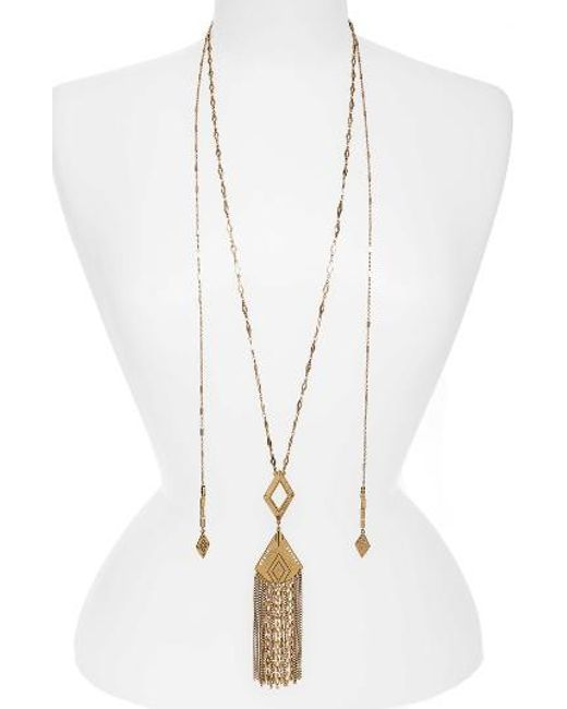 Treasure & Bond | Metallic Long Fringe Pendant Necklace | Lyst