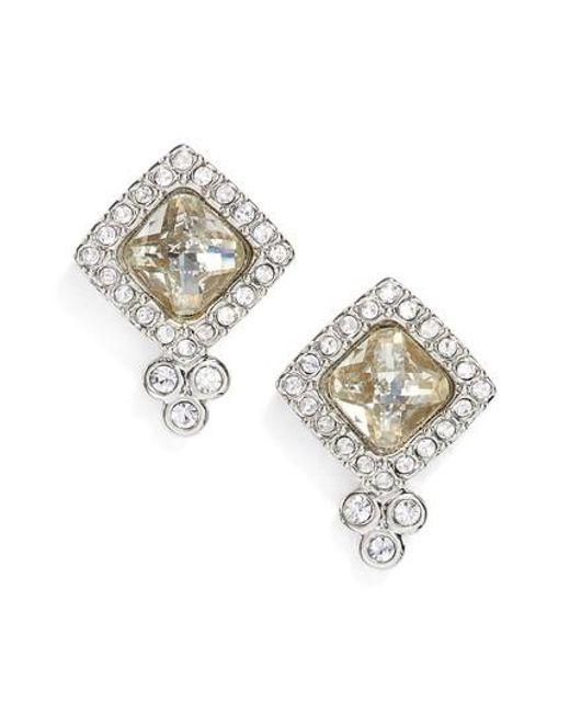 Jenny Packham   Metallic Glistening Shadows Cushion Stud Earrings   Lyst