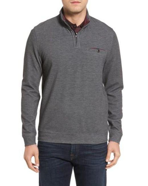 Ted Baker   Gray Valerio Quarter Zip Pullover for Men   Lyst