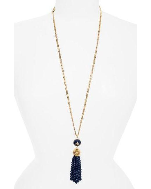 Tory Burch | Metallic Beaded Tassel Necklace | Lyst