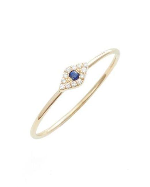 EF Collection | Metallic Evil Eye Diamond & Sapphire Stack Ring | Lyst
