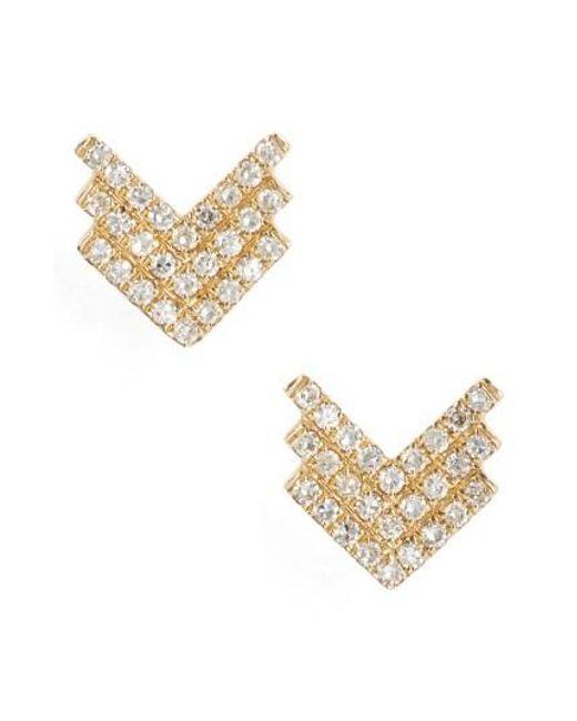 EF Collection | Metallic Shield Diamond Stud Earrings | Lyst