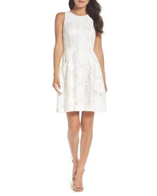 Tahari | White Fit & Flare Dress | Lyst