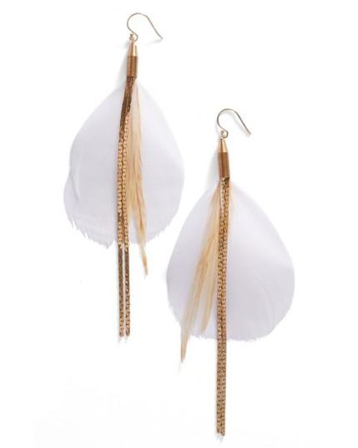 Serefina | Metallic Vintage Feather Drop Earrings | Lyst