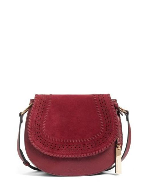 Vince Camuto | Red Kirie Suede & Leather Crossbody Saddle Bag | Lyst
