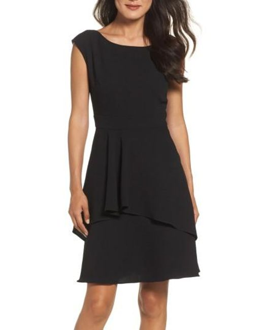 Eliza J   Black Ruffle Fit & Flare Dress   Lyst