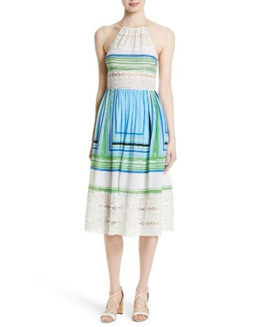 Tracy Reese   Blue Lace Inset Halter Dress   Lyst