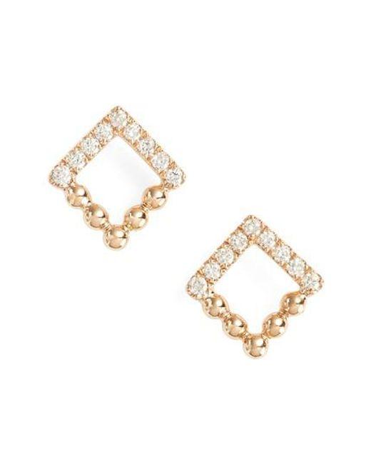 Dana Rebecca | Metallic Poppy Rae Square Diamond Stud Earrings | Lyst
