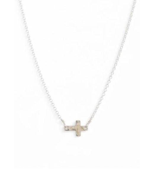 Nashelle   Metallic Side Cross Pendant Necklace   Lyst