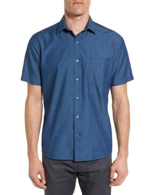 Maker company tailored fit print sport shirt in blue for for Blue print maker