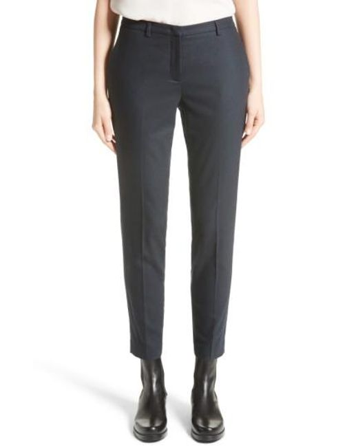 Fabiana Filippi | Blue Stretch Wool & Cashmere Flannel Ankle Trousers | Lyst