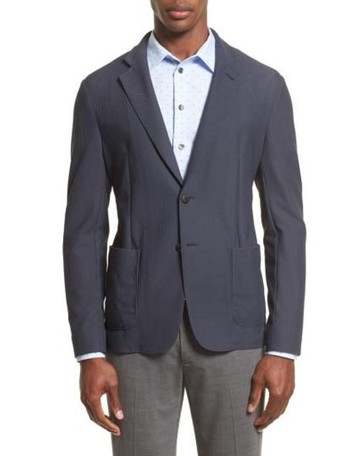 Armani | Gray Mesh Knit Jacket for Men | Lyst