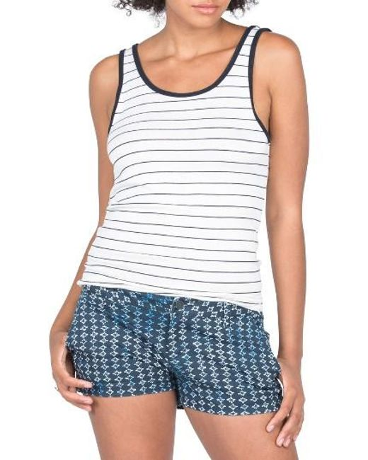 Volcom | White Second Chance Stripe Tank | Lyst