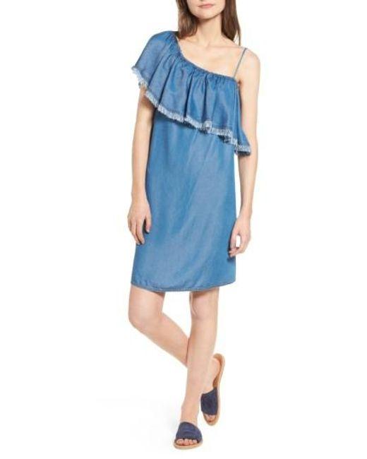 Splendid | Blue Fringe One-shoulder Shift Dress | Lyst