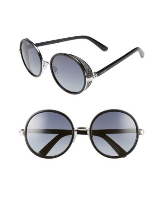 Jimmy Choo | Andiens 54mm Round Sunglasses - Palladium/ Black | Lyst