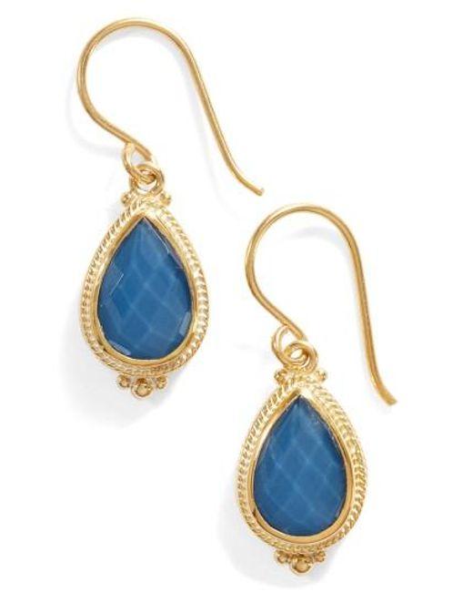 Anna Beck | Blue Quartz Small Teardrop Earrings | Lyst