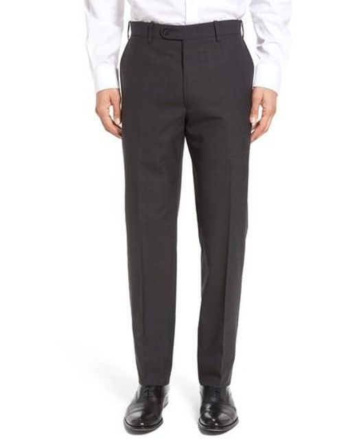 JB Britches | Gray Flat Front Plaid Wool Trousers for Men | Lyst