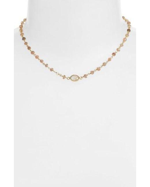 Ela Rae | Metallic Libi Semiprecious Stone Collar Necklace | Lyst