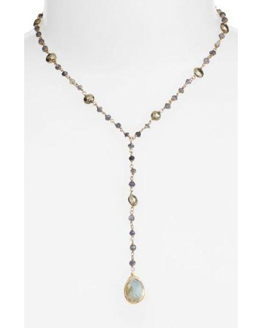 Ela Rae | Metallic Yaeli Midi Satellite Semiprecious Stone Y-necklace | Lyst