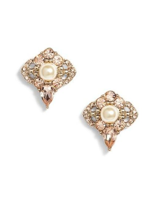 Jenny Packham   Metallic Cluster Stud Earrings   Lyst
