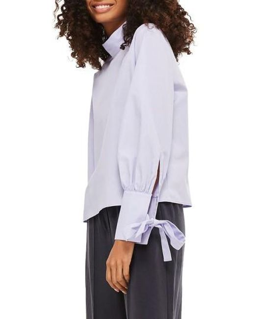 TOPSHOP | Purple High Neck Tie Sleeve Blouse | Lyst