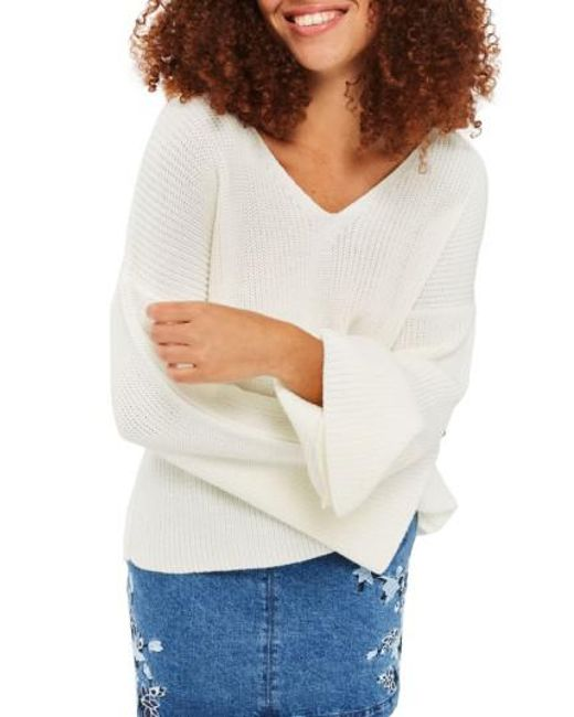 TOPSHOP | White Lattice Back Sweater | Lyst