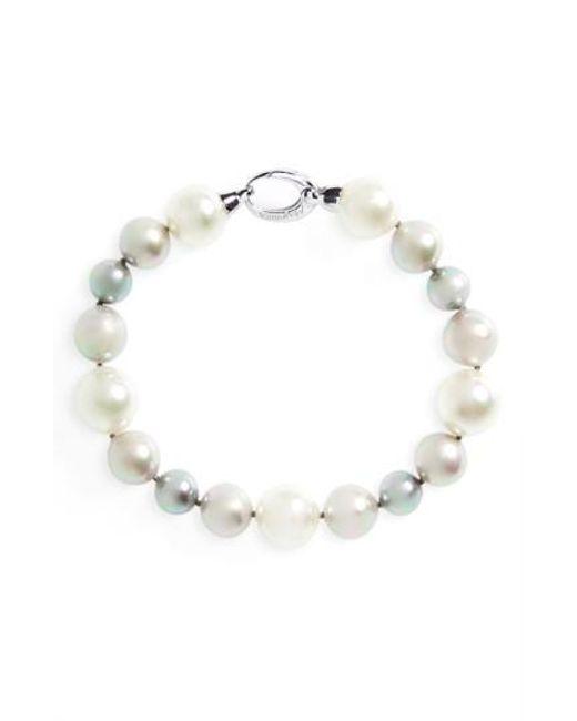 Majorica   Gray Simulated Pearl Strand Bracelet   Lyst