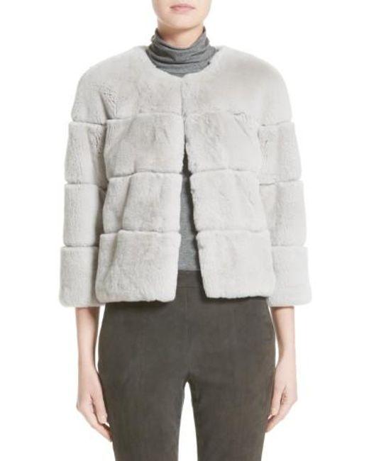 St. John | Gray Genuine Rex Rabbit Fur Jacket | Lyst