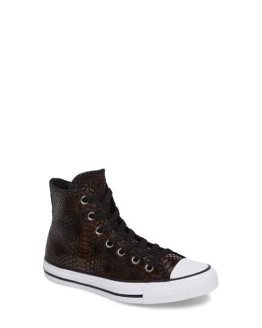 Converse | Brown Chuck Taylor All Star Snake Embossed High Top Sneaker | Lyst