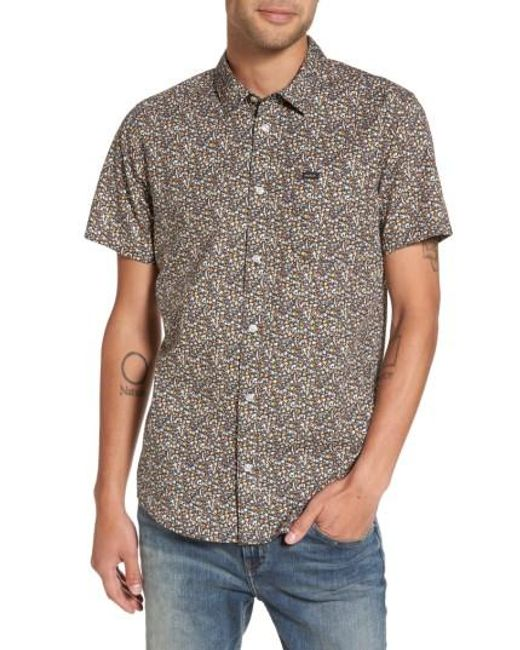 RVCA | Black Cluster Floral Print Woven Shirt for Men | Lyst