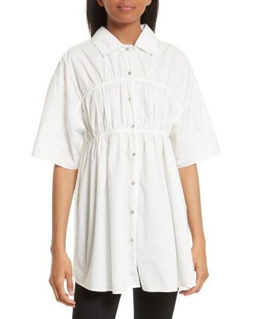 Opening Ceremony   White Gathered Poplin Shirt   Lyst