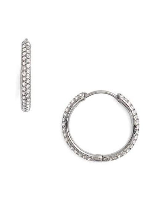 Nadri | Black Pave Hoop Earrings | Lyst