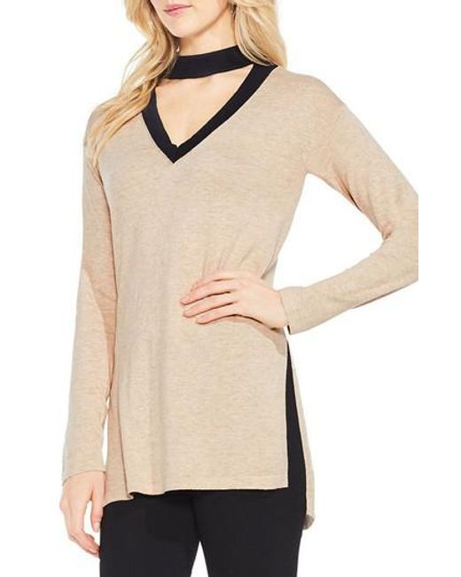 Vince Camuto | Natural Choker V-neck Sweater | Lyst