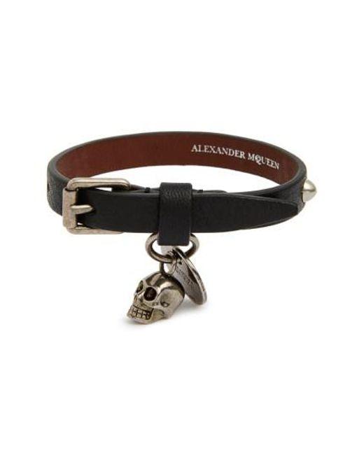 Alexander McQueen   Black Studded Leather Bracelet for Men   Lyst