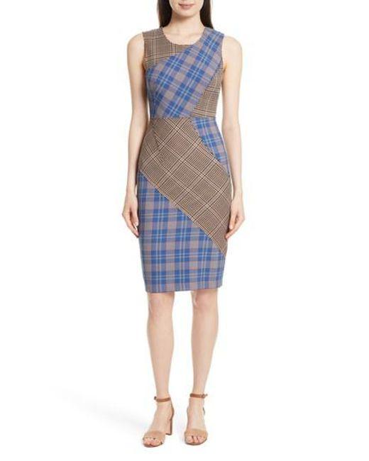 Tracy Reese   Blue Patchwork Plaid Sheath Dress   Lyst