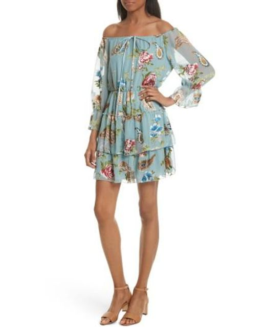 Alice + Olivia | Blue Waylon Off The Shoulder Blouson Dress | Lyst