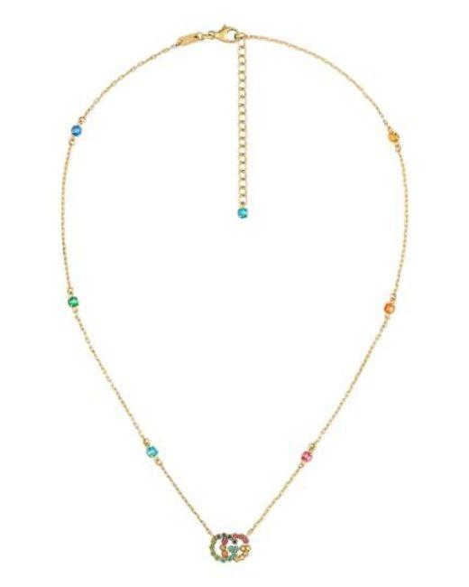 Gucci | Metallic Running G Semiprecius Stone Pendant Necklace | Lyst
