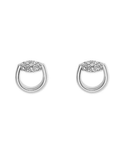 Gucci | Metallic Horsebit Diamond Stud Earrings | Lyst
