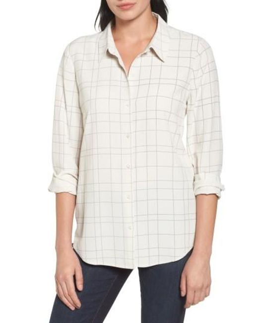 Eileen Fisher | Multicolor Windowpane Classic Collar Shirt | Lyst